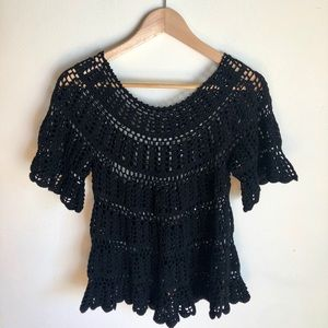 Tops - Vintage '70s Crochet Black Top